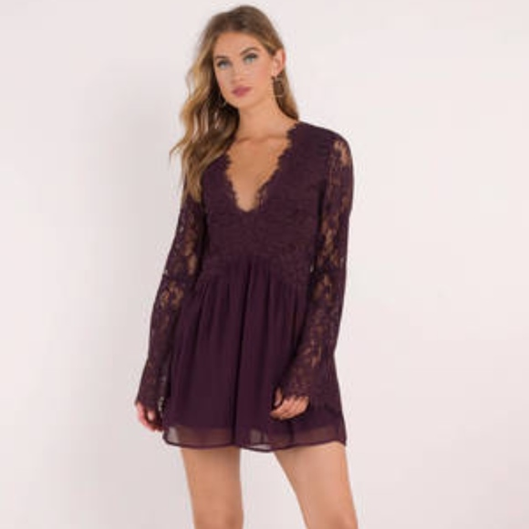 Tobi Long Sleeve Lace Dress Plum Nwt